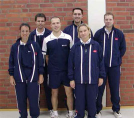 1.Mannschaft von links: Judith Bienen, Michael Backhaus, Stephan Röder, Bernd Griesebock, Anja und Ulli Honrath
