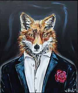 peinture tableau acrylique renard habillé en costume élégant drôle rigolo avec veste bleu et une rose renard james bond