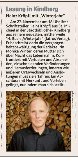 Heinz Kröpfl Lesung Buchpräsentation Roman Winterjahr Iatros Verlag Stadtbibliothek Kindberg