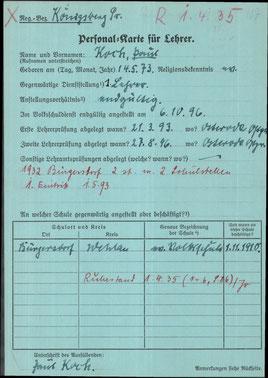Personalkarte für Lehrer: Paul Koch, zum Vergößern anklicken