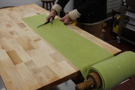 Spinach Sheets being cut to Length