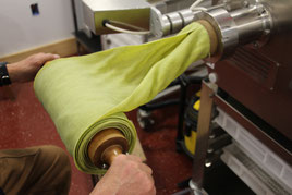 Spinach Sheets coming out of the Extruder
