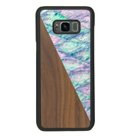 Galaxy s8 Plus case walnut wood and blue nacre front