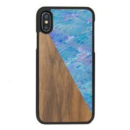 iphone x case walnut wood and blue nacre front