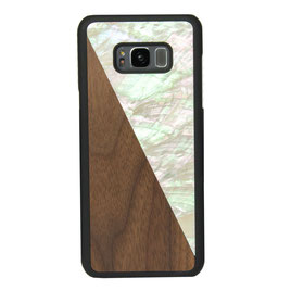 Galaxy s8 case walnut wood and white nacre front