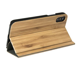 iphone X flip case bamboo wood front