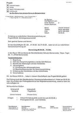 Einladung Generalversammlung Projekt BAUM Schülergenossenschaft