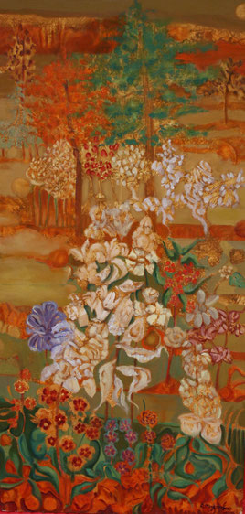 Los árboles y arbustos de los mil frutos - 60 x 122 cm - óleo/Dmp - Guillermo R. Mingorance