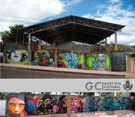 El proyecto Arte Urbano Palmares coordinado por Katherine Villegas convocó a once grafiteros para llenar de imaginación las paredes exteriores del área deportiva contiguo al salón comunal del barrio Santa Fe (cc El alto del zoncho).