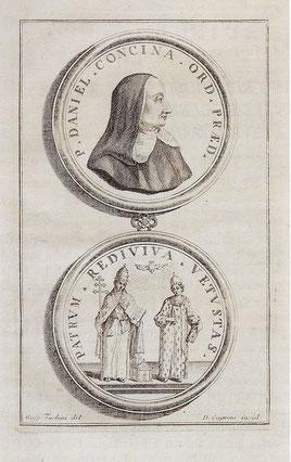 Medaglione con il ritratto di Daniele Concina riprodotto dell'opera di Dionisio Sandellio (foto Viola da ÂS Int e Cjere - 1992).
