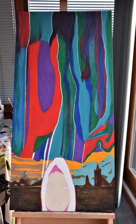 Peinture en cours , thème des aurores boréales, décembre 2019
