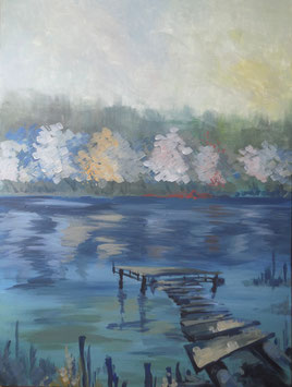 Galambos Rita Relaxation at the lake Acrylic on canvas  landscape painting freischaffende Künstlerin Malerin Designerin Painter Designer Artist Vorarlberg Malerei