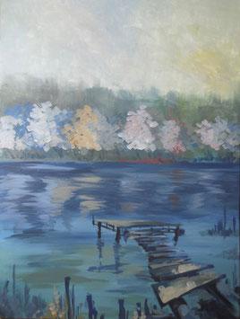 Galambos Rita - Erholung beim See Rita Galambos freischaffende Künstlerin Malerin Designerin Painter Designer Artist Vorarlberg Malerei