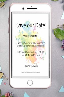 Save the date, digitale, Handy, selbe machen, Vorlage, Whatsapp, elektronische, Hochzeit ankündigen