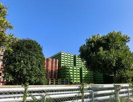 ●ビールケースがたくさん積まれている場所の横を通過。この近くにサントリーのビール工場があります