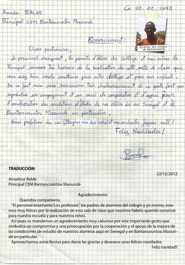 Carta del director del Colegio de Bantancountou agradeciendo la labor del Grupo Scout Chaminade