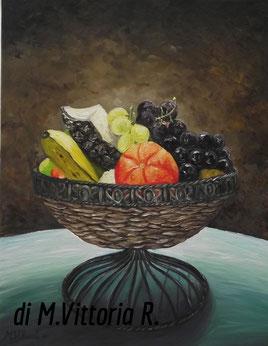 coppa in vimini con frutta, olio su tela cm 40x50 anno 2011- NON DISPONIBILE