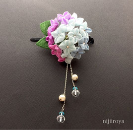 つまみ細工nijiiroya  紫陽花のクリップ