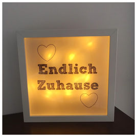LED Bilderrahmen, LED mit verschiedenen Texten, LED Bilderrahmen - Endlich Zuhause