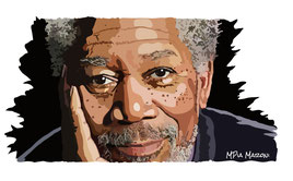 disegno-drawing-ritratto-portrait-digital-art-Morgan Freeman-primo piano-sguardo-intenso