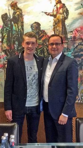 Treffen im Rathaus Essen Thomas Kufen mit Lars Ulrik Wagner
