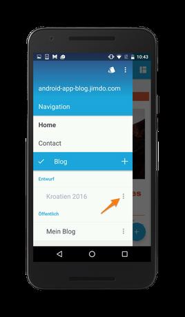 Bild: Jimdo-App Android Blog-Artikel Status prüfen