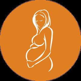 Rückenschmerzen, Schwangerschaftübelkeit,  schweren Beinen, schlechte Verdauung, Kontakt mit dem Baby