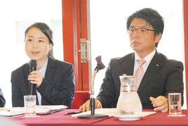 記者会見で翁長知事に反論した国連演説について語る我那覇氏(左)と砥板市議=25日午前、日本記者クラブ