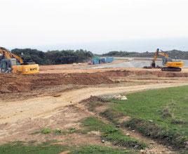 工事が進む陸上自衛隊沿岸監視部隊の駐屯地建設地=12日、与那国町