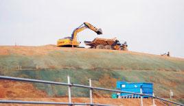 用地造成が進む自衛隊駐屯地建設地=2月12日撮影
