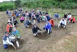 関係者約70人がサガリバナを植樹した=1月31日(提供写真)