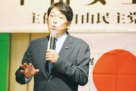 安保法について講演する小野寺前防衛相(28日夜)