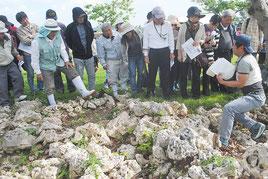 フルスト原遺跡にある墓地の石積み跡で、職員の説明を聞く参加者(20日午前)