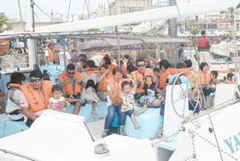 2回行われ、約120人が楽しんだヨット体験セーリング=20日午後、石垣港離島桟橋ターミナル