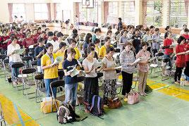 絆を深めあった竹富町婦人連合会大会=6日、同町の西表小中学校