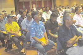 八重山漁協の通常総会が開かれた=26日午後、市民会館中ホール