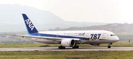 石垣空港に初就航したボーイング787―8=24日、石垣空港