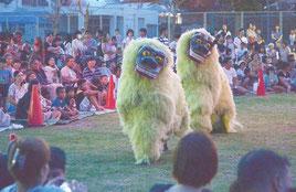 大浜小6年生が披露し、大人顔負けの動きで会場を魅了した獅子舞=29日夜、崎原公園