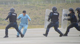本番さながらのハイジャック訓練が行われた=30日、石垣空港エプロン内