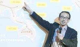「日本人はどこから来たか」を説明する海部陽介氏=22日午後、健康福祉センター