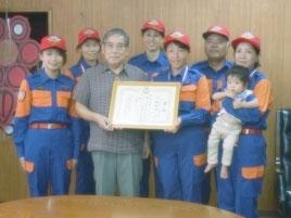 石垣市女性消防団が消防操法大会の準優勝を報告した