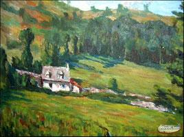 """""""Vercuères de Laroquevieille"""" - André Puech - Huile sur toile - Coll. privée"""
