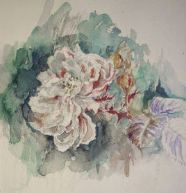 薔薇5 Faded roses(watercolor painting)