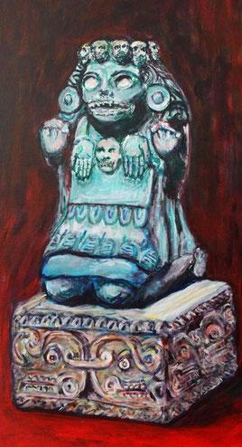 Der Ausschnitt zeigt Mictlancihuatl, die aztekische Herrin des Todes, die ueber die Knochen der Toten und den der Toten geweihten Feste wacht.
