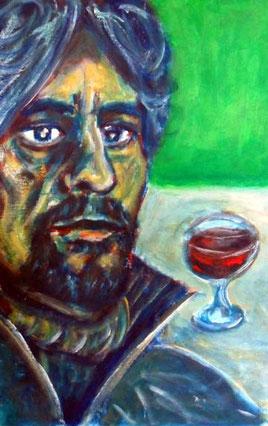 Willi Büsing, Selbstportät mit Rotweinglas.
