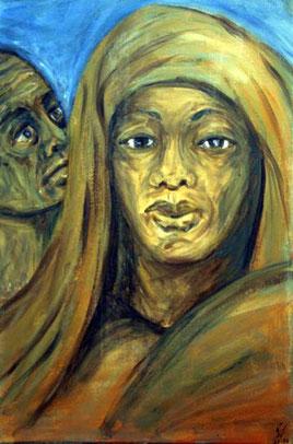 Gemaelde in Acryl. Abraham und Hagar verabschieden sich. Oder anders: Abraham schickt Hagar in die Wueste.