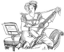 Gitarrenschülerin mit Biedermeierkleid, in: B. Henry: Méthode Pour la Guitare. 1820.