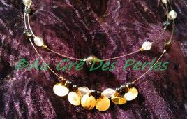 Ras de cou : Perles artisanales Indiennes en verre et sequins sur fil câblé