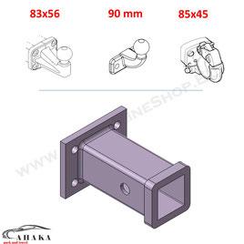 2 Zoll Anhängerkupplungsaufnahme mit Lochbild 83 x 56 mm, 85 x 45 mm oder 90 mm