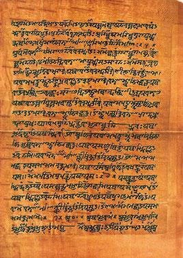 10.000 Jahre alte Veden, in Sanskrit (Bild durch Klick vergrößern)